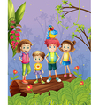 Children with one colorful parrot in the forest vector image vector image
