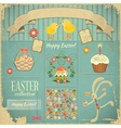 Retro Card with Easter Set Vector Image