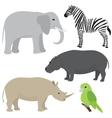 Set 1 of cartoon african animals vector image vector image