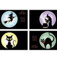 A set of four happy halloween vector image