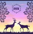 deer sunset vector image vector image