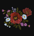 embroidery colorful floral pattern with poppy and vector image