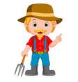 funny farmer cartoon vector image