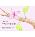 Gentle watercolor flower on branch vector image