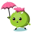 Green Monster With Umbrella Under Rain vector image