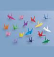 set of paper birds on blue backgroundthe art of vector image