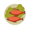 two grilled fish on round plate with fresh lettuce vector image