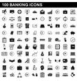 100 banking icons set simple style vector image