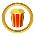 Popcorn in striped bucket icon vector image