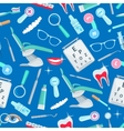 Dentistry seamless pattern of dental care items vector image