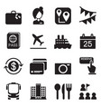 tourism tourist icons set vector image