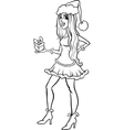 girl santa claus coloring page vector image vector image