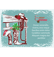 Cowboy Christmas poster for text vector image vector image