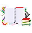 notebook with school supplies vector image