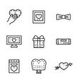 Black line wedding icons set vector image