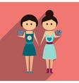 flat icon with long shadow Two girls gifts vector image