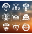 Marine nautical labels on blurred vector image