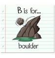Flashcard letter B is for boulder vector image