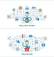 Online shop Training Flat line icons and vector image