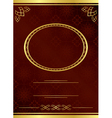 brown card with golden frame vector image vector image