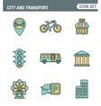 Icons line set premium quality of various city vector image