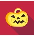 Pumpkin on halloween icon flat style vector image