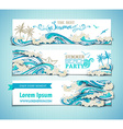 set of seaocean horizontal banners vector image