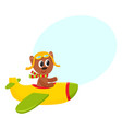cute teddy bear pilot character flying on airplane vector image