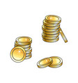 stacks of gold coins tall and short money symbol vector image