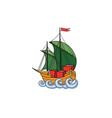 sailing ship retro ship transport cartoon marine vector image