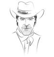 cowboy face vector image