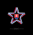 star with Slovakia flag colors and coat of arms on vector image