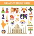 Set of flat design India travel icons and vector image