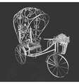 elegance retro white tricycle with flowers vector image