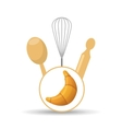 Cookware and croissant vector image