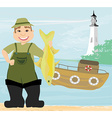 fisherman and fishing boat vector image