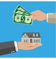 Hands with money and house Real estate vector image