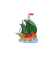 sailing ship retro ship transport cartoon marine vector image