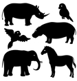 Set 1 of african animals silhouettes vector image