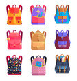 set of colorful rucksacks for girls or boys vector image