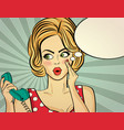 surprised pop art woman with retro phone who vector image