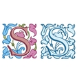 Vintage initials letter S vector image
