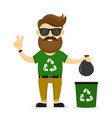 young smiling happy beard hipster eco vector image