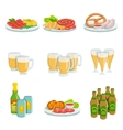 Oktoberfest Grill Set Of Food Plates And Beers vector image