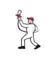 Painter Spray Paint Gun Side Cartoon vector image