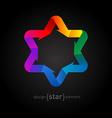 Origami rainbow Star of David on black background vector image