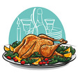 garnished roasted turkey vector image