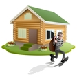 Thief robbed house Man robber running with bag vector image