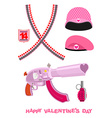 Weapons Cupid Set Military love accessories vector image