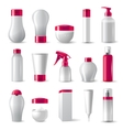 cosmetics packages with pink caps vector image